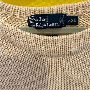Men's Cream Polo Sweater 100% cotton 2xl.